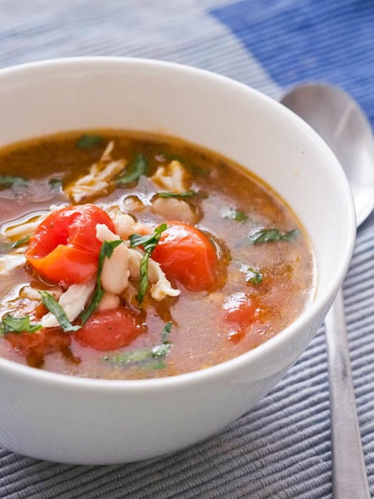 and easy to make chicken soup with cherry tomatoes and white beans ...