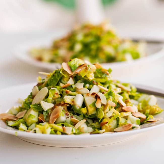 crispy fresh. Shredded brussels sprouts pair well with almonds, apples ...